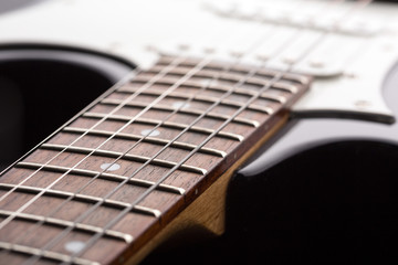 Closeup of electric guitar strings