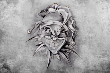 tattoo joker, illustration, handmade draw over vintage paper