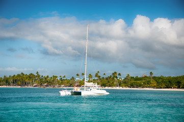 Catamaran Sailing Boat near Saona, Carribean Sea