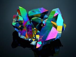Extreme sharp Titanium rainbow aura quartz crystal cluster