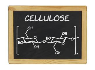 chemische Strukturformel von Cellulose auf einer Schiefertafel