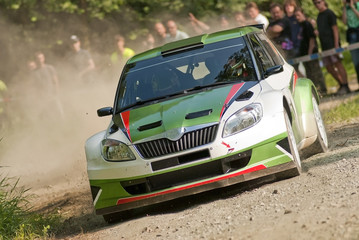 Rally car in action, Škoda Fabia S2000