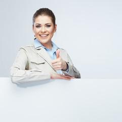 Thumb business woman portrait, white banner.