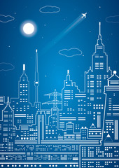 Neon city, vector lines town, city infrastructure