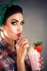 portrait of beautiful fashionable woman in retro style