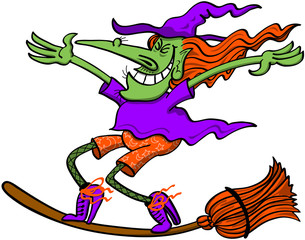 Witch keeping balance on top of her magic broom while flying