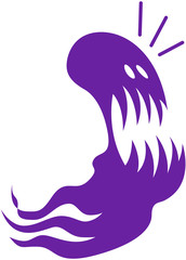 Terrified Purple Halloween Ghost