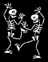 Couple of Halloween skeletons while happily dancing