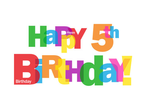 """""""HAPPY 5TH BIRTHDAY"""" CARD (fifth five years old party message)"""