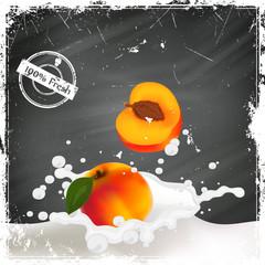 Vector Illustration of Peaches falling into a Splash of Milk
