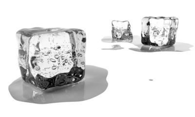 Melting ice blocks