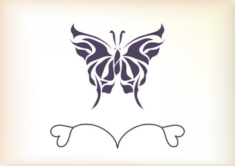 Beautiful vintage retro butterfly vector
