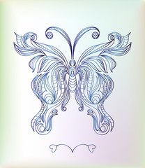 Beautiful vintage blue butterfly vector