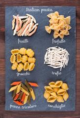 Set of traditional Italian pasta