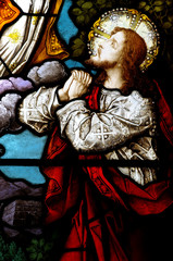Fototapete - Jesus praying in stained glass