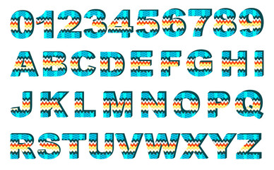 Vector alphabet with knitting pattern
