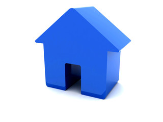 3D blue house.