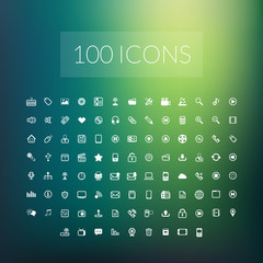 Set of 100 simple universal modern thin line icons