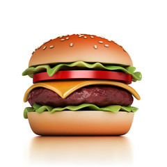 hamburger 3d illustration