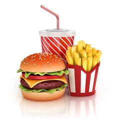 fast food hamburger, fries and soft drink 3d illustration