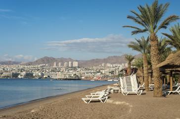 Sandy beach of Eilat - famous resort city in Israel