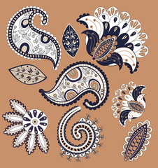 Beautiful Paisley elements can be used as a greeting card