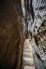 stairs inside sandstone rock - Cesky raj, Czech republic