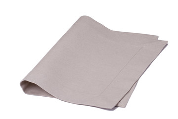 Natural Linen Napkin Isolated On White Background