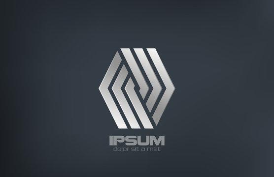 Business Fashion Luxury metal vector logo design icon