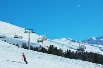 Snowboarder auf der Piste