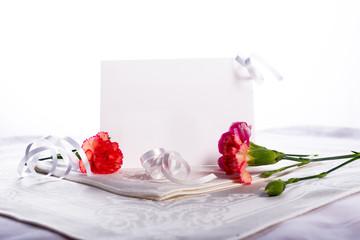 Blank card with flowers Hi key