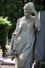 Detail of a mourning sculpture on a Mirogoj cemetery, Zagreb