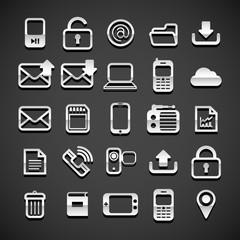 Flat metallic universal icons