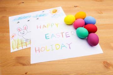 Kid drawing for easter holiday