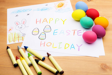 Children drawing and ester egg