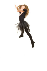 Beauty ballerina girl jumping