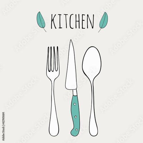 Cute Cutlery Doodle Kitchen Illustration