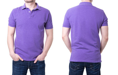 Purple polo shirt on a young man template