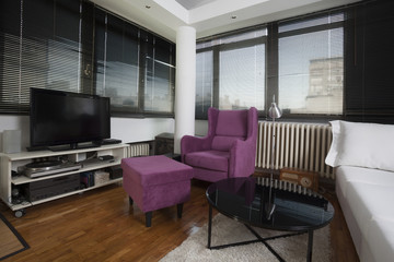 apartment with white and violet furniture