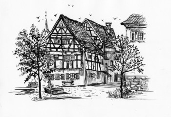 Black and white sketch of building and trees
