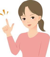 指さす笑顔の女性
