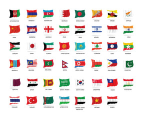 Vector set of  All Asia flags