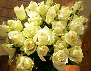 Bunch of greenish white roses