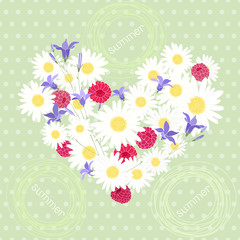 Summer. Polka dot background with hearts of camomiles, bluebells