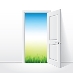Opened white door and nature vector illustration