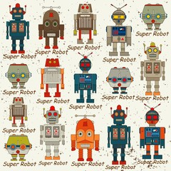 Estores personalizados infantiles con tu foto seamless Robot pattern,cartoon vector illustration
