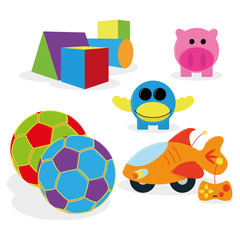 Set Of Different Cartoon Toys Isolated