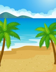 Beach background with coconut tree
