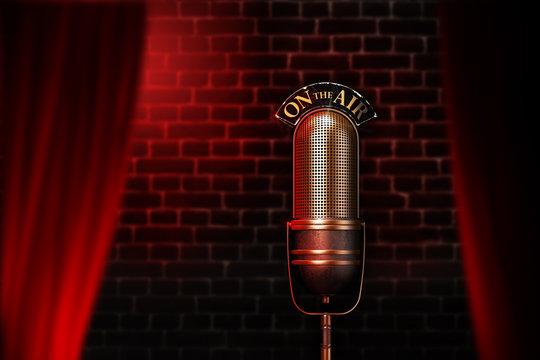 Vintage microphone on red cabaret stage