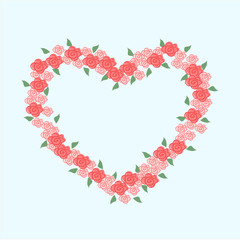 Pink roses heart frame